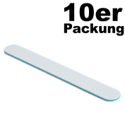 Set of 10 File Straight White Nail File 80/120 Grit – Cushioned Core Turquoise