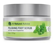 Natural Foot Polishing Scrub with Pumice and Aloe | Organic | Smooths Dry, Calloused Feet | Deep Exfoliation with Soothing Relief | Peppermint and Tea Tree Oils | Canadian Made | 120 ml | DOUBLE THE SIZE