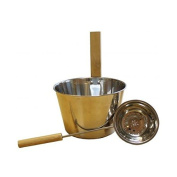 Emendo Stainless Steel Metal Bucket and Ladle for Sauna