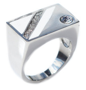 Men's Stainless Steel Snazzy Stainless Steel Rectangular Designed Ring. Stamped 316. Never Tarnish Guarantee. Brilliant Round Simulated Diamonds. White Stripe Pattern Either Side. 3.3mm Total Width.