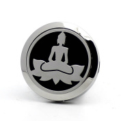 Aromatherapy Car Essential Oil Diffuser Air Freshener Bodhi Lotus Religious 316L-Stainless Steel Locket with Vent Clip-10 Refill Pads