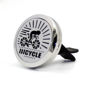 Aromatherapy Car Essential Oil Diffuser Air Freshener Bicycle Boy 316L-Stainless Steel Surgical Locket with Vent Clip-10 Refill Pads