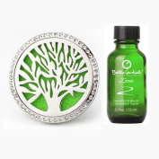 BellaSentials Tree Car Diffuser Vent Clip & Zoom Essential Oil Blend - Simply Add Essential Oils To De-stress Or Stay Alert While You Drive, Aromatherapy Air Freshener Locket - Car Charm