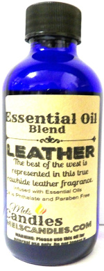 Leather 4oz / 118.29ml Blue Glass Bottle of Essential Oil Blend / Premium Grade Fragrance Oil, Skin Safe Oil, Candles, Lotions Soap & More