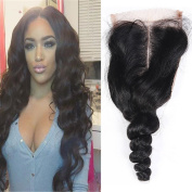UR Meili Brazilian Lace Closure Loose Wave 4x 4 Remy Human Hair Closure Middle Part Bleached Knots With Baby Hair 20cm