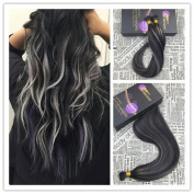 Moresoo 60cm 50strands/pack 1g/s Fusion I tip Human Hair Extensions 100% Remy Hiar Balayage Coloured Black and Silver Highlights Staight Keratin Tipped Hair Extensions