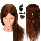 Neverland Beauty 50cm Mannequin Head 100% Human Hair Can be makeup Long Hair Hairdressing Mannequins Training Head Model with Clamp Holder