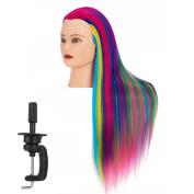 Hairgingkgo 70cm - 70cm Cosmetology Mannequin Head 100% Synthetic Hair Rainbow Colour, Practise Training Hair Styling Mannequin Head
