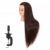 Hairgingkgo 70cm - 70cm Mannequin Head Hair Styling Training Head Manikin Cosmetology Doll Head Synthetic Fibre Hair (Table Clamp Stand Included)