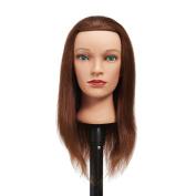 Hairginkgo 46cm - 50cm 100% Human Hair Cosmetology Mannequin Manikin Training Head Doll Head With Free Clamp