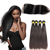 Superwigy 4 Bundles Unprocessed Human Hair Bundles with 4×4 Lace Closure Straight Nature Black for Black Women