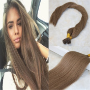 HairDancing 60cm Pre bonded I Tip Fusion Hair Extensions Remy Human Hair Extensions Colour #10 Golden Brown 1g/strand 100strand/package