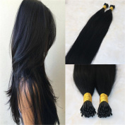 HairDancing 60cm Human Hair Extensions Remy Colour Jet Black #1 I Tip Remy Hair Extensions Pre bonded I Tip Hair Extensions 1g Per Strand 100g Per Package