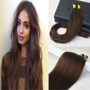 HairDancing 60cm I Tip Human Hair Extensions Full Head Remy Keratin Bond I Tip Hair Extensions Pre bonded I Tip Natural Straight Hair #3 Darker Brown Colour 1g/Strand 100g/Package