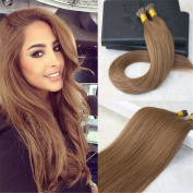 HairDancing 60cm Stick I Tip Real Human Hair Extensions Remy Virgin Human Hair Keratin Bonded Stick I Tip Fusion Hair Extensions #6 Medium Brown 1g/Strand 100Strands/Package
