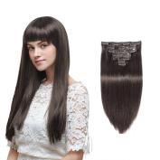 Rechoo Full Head Virgin Human Hair Clip In Extensions Straight 10pcs 200g 60cm #2 Darkest Brown