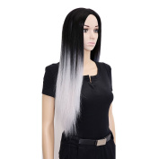 70cm Long Ombrre Grey Wig Long Straight Synthetic Wigs For Black Women Natural Cheap Wigs For Black/White Women Wig Cosplay Hair