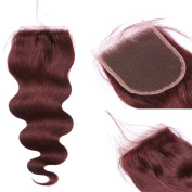 FDshine 99J Closure with Baby Hair 10cm x 10cm Body Wave Human Hair Closures Burgundy Lace Closure with Bleached Knots Lightly Invisible Lace