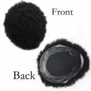 SinoArt Human Hair Afro Curly Mens Toupee Hairpiece Wig Base with Hard PU Reforced Size 24cm x 19cm #1B Off Black