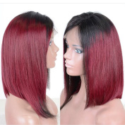 V'NICE #1B/Burgundy Synthetic Short Hair Lace Front Wigs Bob Styles Ombre Wine Red Wig