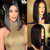 130 Density Brazilian Hair Natural Colour Short Full Lace Human Hair Wigs Middle Part Lace Front Wig Straight Human Hair bob Wigs for Black Women