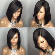 Straight Lace Front Human Hair Bob Wig with Bangs Brazilian Virgin Hair Short Bob Wig Glueless Short Full lace wigs for Black Women