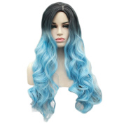 Panda Hair Women Wigs 70cm Long Wavy Ombre Colour Synthetic Wig - Cosplay Party Use Wig for Women