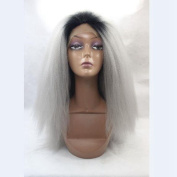 Kinky Straight 1b# Ombre Grey Synthetic Hair Glueless Lace Wigs Free Part 50cm Pic
