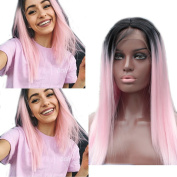 FOND Synthetic Hair Wig Glueless Lace Front Wigs for Black Women Heat Resistant Fibre Long Straight Hair Ombre Colour