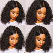 Brazilian Virgin Human Hair Short Curly Bob Lace Front Wigs for Black Women Middle Part Short Bob Glueless Lace Front Human Hair Wigs with Baby Hair
