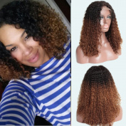 TopFeeling Ombre Kinky Curly Wigs Brazilian Short Human Hair Lace Front Wig Afro Curly Ombre Colour Wigs Two Tone For Black Women