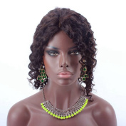 Royalty Hair 36cm Silk Base Remy Human Hair Front Lace Wigs Wholesale . Curly for Black Women Natural Colour