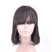 HAIR WAY Box Braided Wigs Bob Style Heat Resistant Fibre Wig with Neat Bangs for Black Women Full Machine Made None Lace Glueless Synthetic Bob braid Wigs for Daily Wear #4 30cm