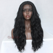 Oxeely Black Watet Wave Synthetic Lace Front Wig with Baby Hair Heat Resistant Wig for Black Women 7.3m