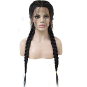 Anogol Hair Cap+Long Double Braids Black Synthetic Braided Lace Front Wig with Baby Hair Wigs Heat Resistant Fibre Middle Part