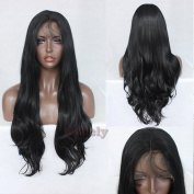 Oxeely Black Long Body Wave Synthetic Lace Front Wig Glueless Lace Wig with Baby Hair 7.9m