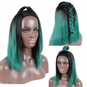 FOND Synthetic Lace Front Wigs with Baby Hair Short Bob Wig for Black Women Heat Resisitant Fibre Hair Ombre Colour