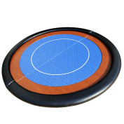 EBS Compact Folding Round Poker Table Top in Blue Speed Cloth - 120cm