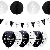 Eid Mubarak Ramadan Celebration Decoration Balloons, Bunting & Hanging Honeycomb Balls