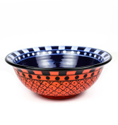 Large Deep Blue & Red Hand Painted Beautiful Ceramic Bowls For Soups & Salad | Dinnerware Bowls & Accessories | Nagina International