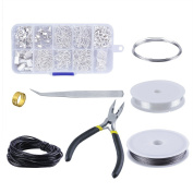 OPount Jewellery Findings Set Jewellery Making Kit Jewellery Findings Starter Kit Jewellery Beading Making and Repair Tools Kit Pliers Silver Beads Wire Starter Tool