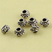MFMei Vintage Style Thai Sterling Silver Spacer Beads, 5mm