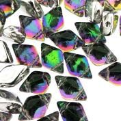 Czech Glass GemDuo Beads, 2-Hole Diamond Shaped Beads 5x8mm, 10 Grammes, Backlit Spectrum