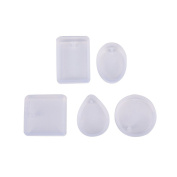 5 Pcs Jewellery Pendant Making Mould Silicone Casting Mould with Hanging Hole Handmade DIY Craft Tool by HONGTIAN