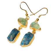Sitara Collections Gold-Plated Brass Earrings, Green Fluorite/Aqua Chalcedony