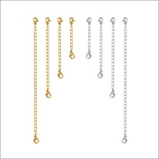Stainless Steel Necklace Extenders Tone Lobster Clasp extensions for necklaces bracelets 8 Pack of Gold & Silver