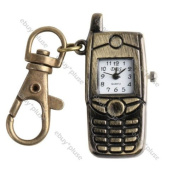 Antique Bronze Cell Phone Pocket Quartz Pendant Key Chain Ring Watch Gift