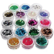 18 Colours Hexagon Nail Art Glitter Sequin Powder by DOM