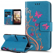 Sony Xperia XA Case,Sony Xperia XA Cover,ikasus Colourful Painted Embossing Butterfly Flower Premium PU Leather Flip Wallet Stand Credit Card ID Holders Protective Case Cover for Sony Xperia XA,Blue