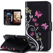 Sony Xperia Z5 Compact Case,ikasus Colourful Painted Embossing Butterfly Flower Premium PU Leather Flip Wallet Pouch Stand Credit Card ID Holders Protective Case Cover for Sony Xperia Z5 Compact,Black